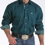 Image of men's forest green with patterned cuff long sleeve button down shirt from Cinch