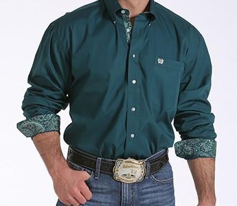 Cinch Men S Forest Green Patterned Cuff Long Sleeve Shirt