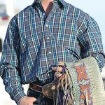 Image of men's gray and teal plaid, long sleeve button down shirt from Cinch
