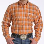 Image of men's orange plaid long sleeve shirt from Cinch