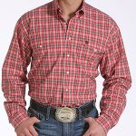 Image of men's red plaid, double pocket long sleeve shirt from Cinch