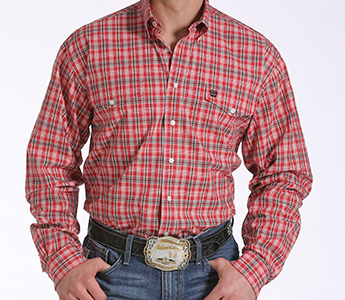 Cinch Men S Red Plaid Double Pocket Long Sleeve Shirt