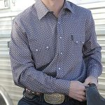 Image of men's square print, snap front, western shirt from Cinch