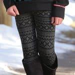 Image of girl's jacquard seamless fleece leggings from Cruel Girl