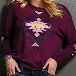 Image of women's burgundy Aztec print slub knit long sleeve sweater from Cruel Girl