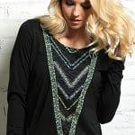 Image of women's long sleeve tribal print slub knit jersey top from Cruel Girl