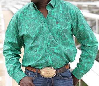 Cinch Green Paisley Long Sleeve Shirt