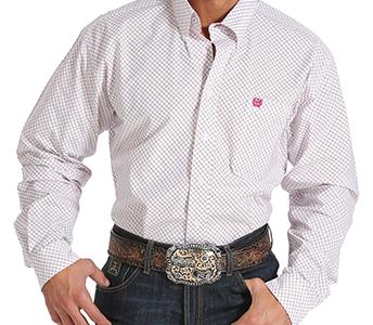 Cinch White Plaid Long Sleeve Shirt