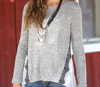 Cruel Girl Gray Sweater with Chiffon Back and Lace Trim