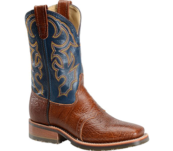 Double H Boot DH4304 Brandy Bull & Blue Marlin Leather Wide Square Toe ICE Roper
