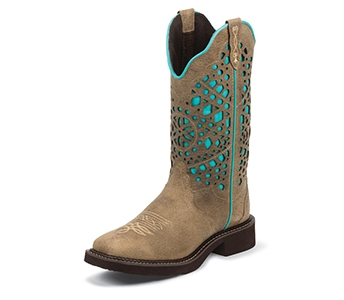 JUSTIN BOOTS WOMEN'S SANDED BUFFALO LASER CUT GYPSY BOOTS L2909