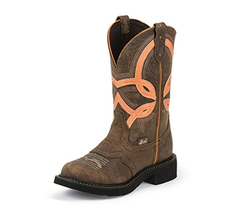 JUSTIN BOOTS WOMEN'S BARNWOOD BROWN COW GYPSY BOOTS L9952
