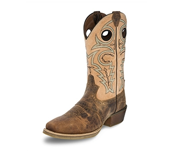 JUSTIN BOOTS MEN'S TAN BONE SILVER COLLECTION BOOTS SV2540