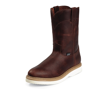 JUSTIN BOOTS MEN'S TAN PREMIUM PULL-ON WORK BOOTS WK4908
