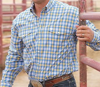 Cinch Double Plaid Long Sleeve Shirt