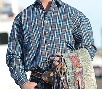 cinch men's gray and teal plaid long sleeve shirt mtw133029