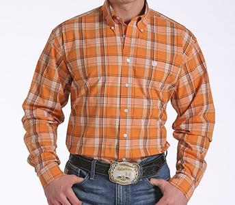 cinch men's orange plaid long sleeve shirt mtw1104328