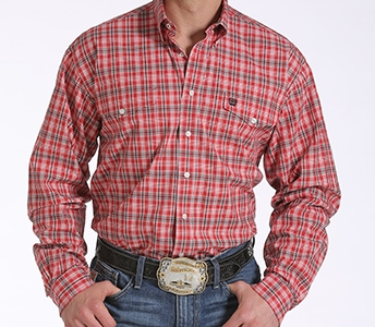 cinch men's red plaid double pocket long sleeve shirt mtw1107062
