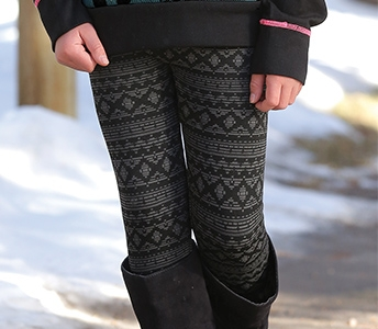 cruel girl girl's jacquard seamless fleece leggings cbu36660002