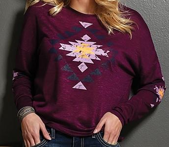 cruel girl burgundy aztec print slub knit long sleeve sweater ctk7036001