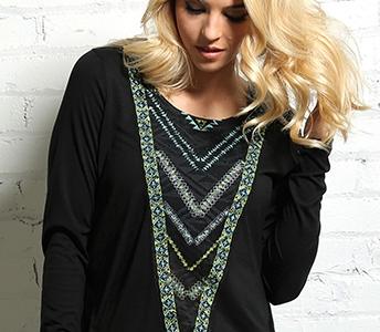 cruel girl long sleeve tribal print slub knit jersey top ctk703001