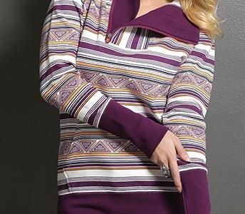 cruel girl burgundy patterned quarter zip pullover hoodie cwk7037001