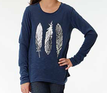 ROPER GIRL'S BLUE FOIL FEATHERS SCREEN PRINT LONG SLEEVE TEE