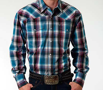 Roper Blueberry Ombre Plaid Long Sleeve Snap Shirt