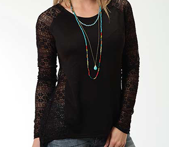 ROPER BLACK LACE SLEEVE & SIDE PANEL LONG SLEEVE KNIT