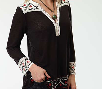 ROPER BLACK AZTEC EMBROIDERED LONG SLEEVE TUNIC