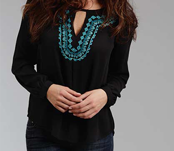 STETSON BLACK CREPE EMBROIDERED PEASANT BLOUSE
