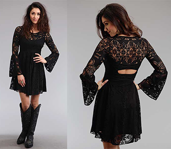 STETSON BLACK LACE DRESS WITH CUT OUT BACK