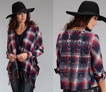 STETSON POMEGRANATE PLAID OPEN CARDIGAN WITH FRINGE & BACK DETAIL
