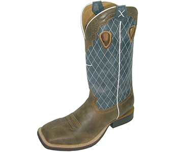Twisted X MRS0027 Ruff Stock Brown Bomber and Blue Boots